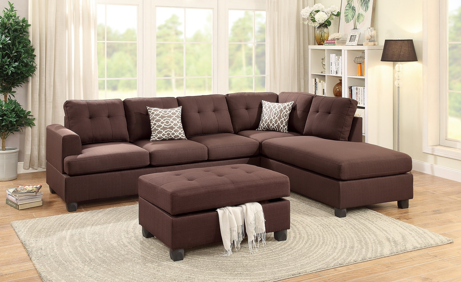 Superb Sectional Sofa Set Living Room 3Pcs Set Sofa Reversible Chaise Storage Ottoman Tufted Couch Decorative Pillows Andrewgaddart Wooden Chair Designs For Living Room Andrewgaddartcom