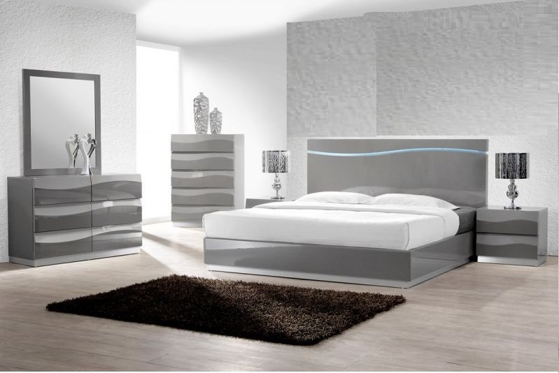 Eastern King Size 1pc Bed Gray Finish