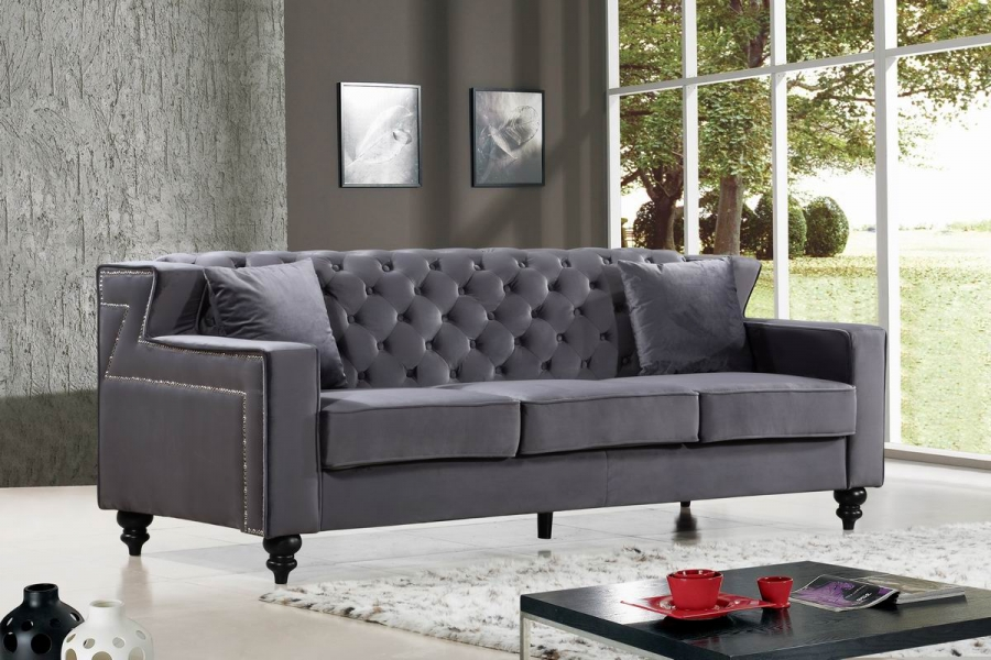 Modern Style Sofa Tufted Designer Gray Velvet Fabric Sofa w/Nailhead Trim  NEW