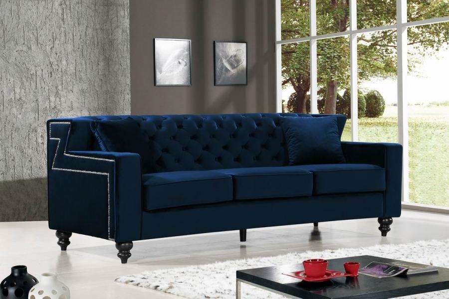 Popular Modern Style 3pcs Sofa Set Tufted Designer Navy Velvet Fabric Sofa w Nailhead Trim NEW Pictures -  Navy Tufted sofa Unique
