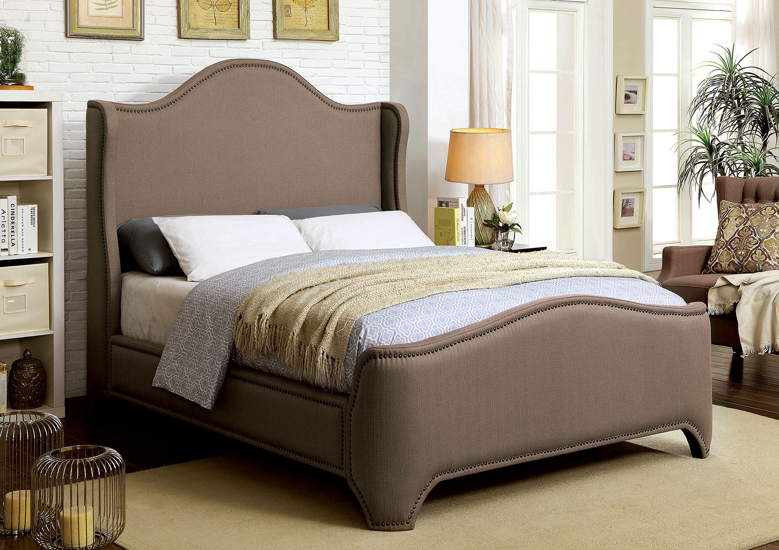 Bedroom Bed Contemporary Queen Size Bed Brown Padded Fabric Plush Comfort Relax Wingback Design