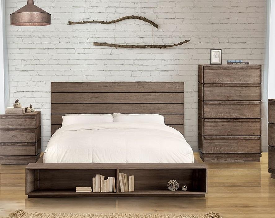 Bonded Leather Low Profile Platform Bed Frame W Paneled: Queen Bed Rustic Low Profile Platform Bed
