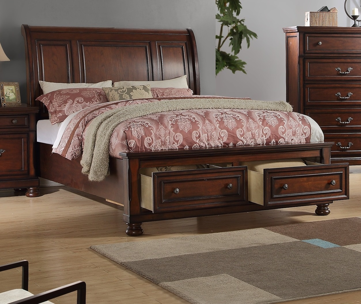 Picture of: Cal King Bed Formal Storage Sleigh Hb Fb F9290 Hot Sectionals