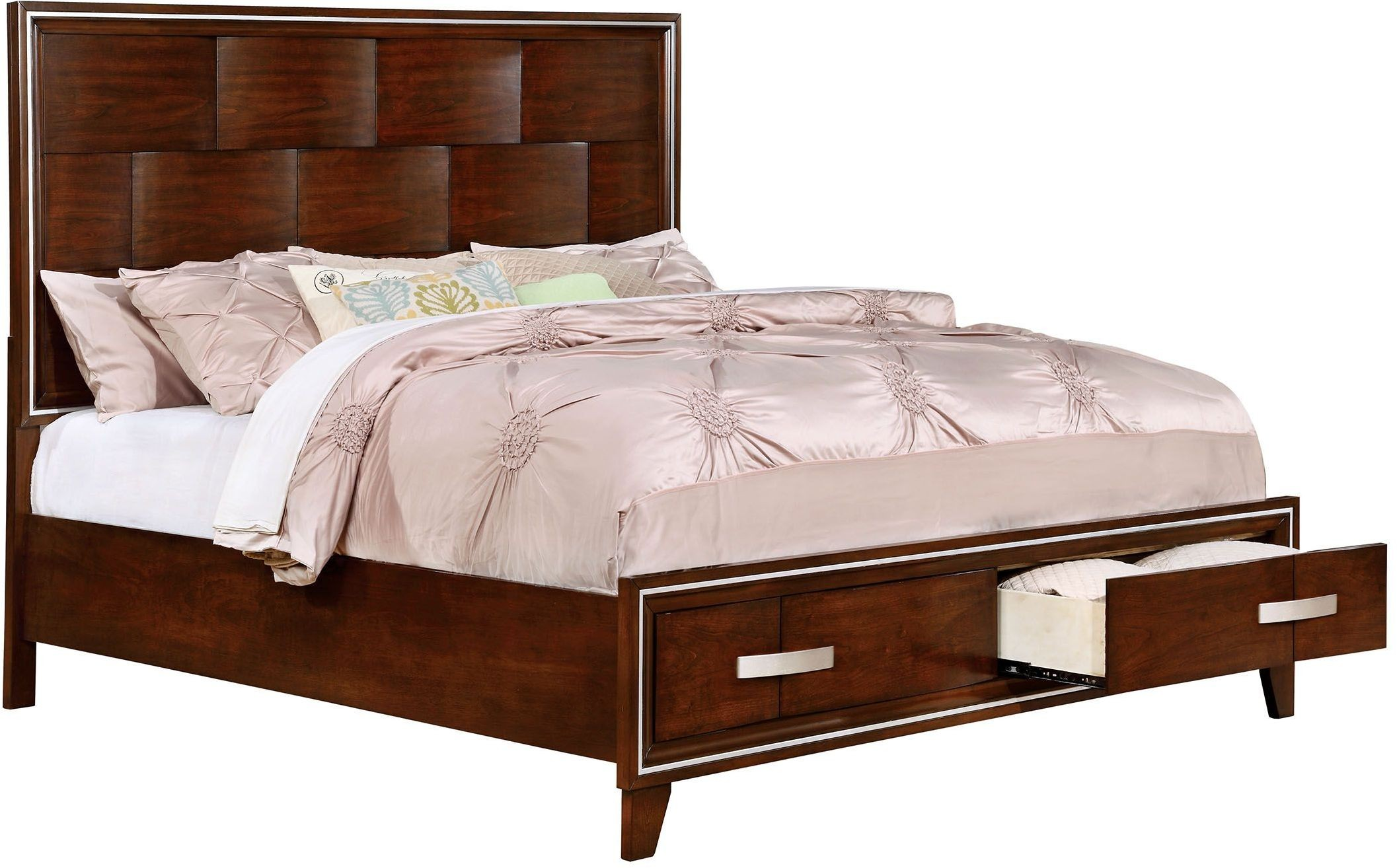Bedroom Cal King Bed Modern Brown Cherry Wood Hot Sectionals