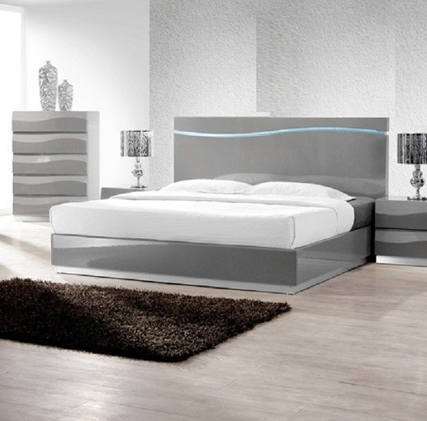 Modern Unique Design Gray Finish Queen Size Bedroom Furniture 1pc Bed