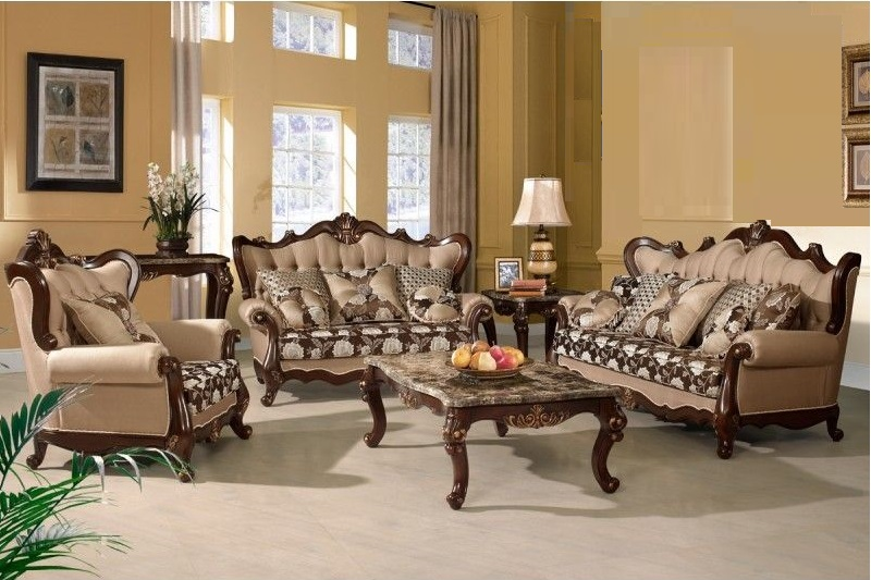 Good 3pc Sofa Set Traditional Carved Living Room Home Furniture Walnut Wood Gold  Trim