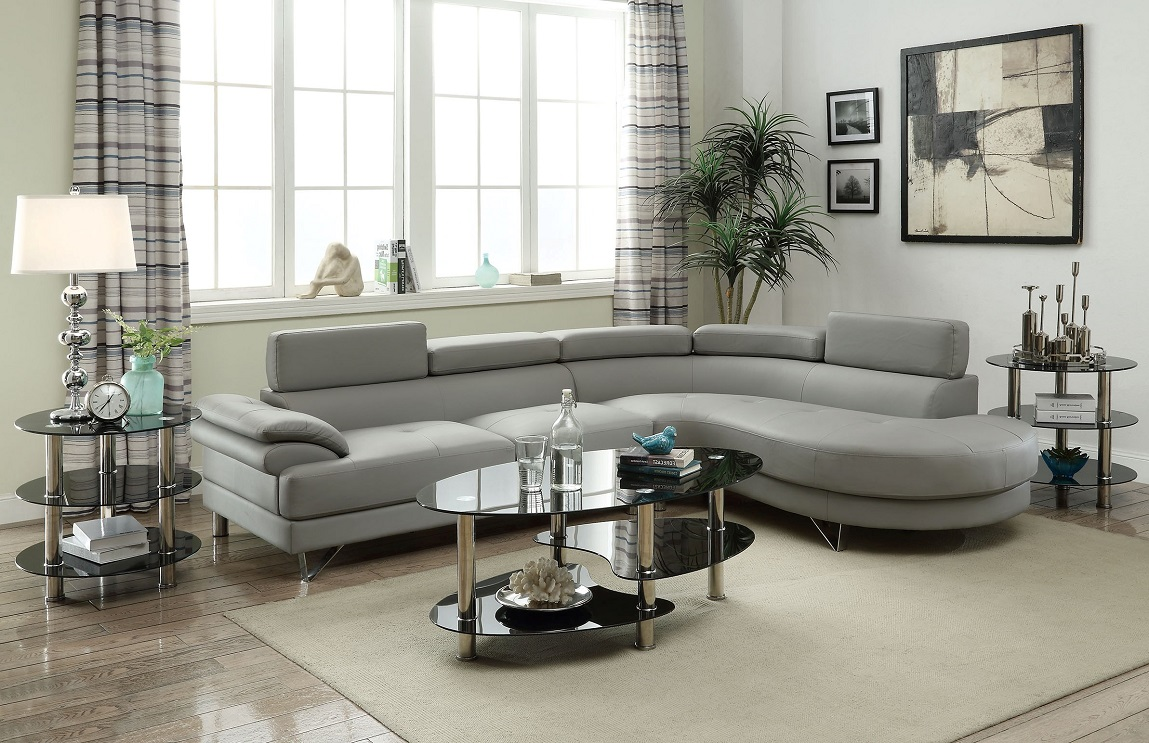 Poundex Sectional Grey Leather Sofa Chaise | Hot Sectionals