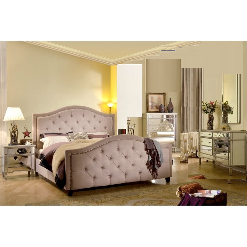 New Taupe Contemporary Queen Size Bedroom Set 4pc Silver Mirrored Furniture