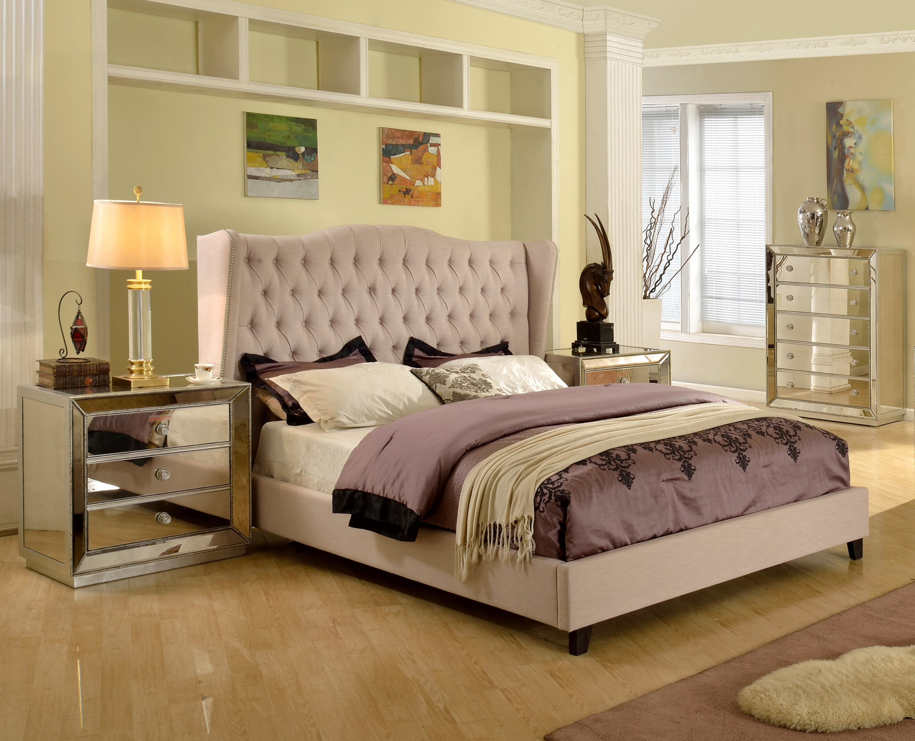 Contemporary Taupe Est.KIng Size Bedroom Bed | Hot Sectionals