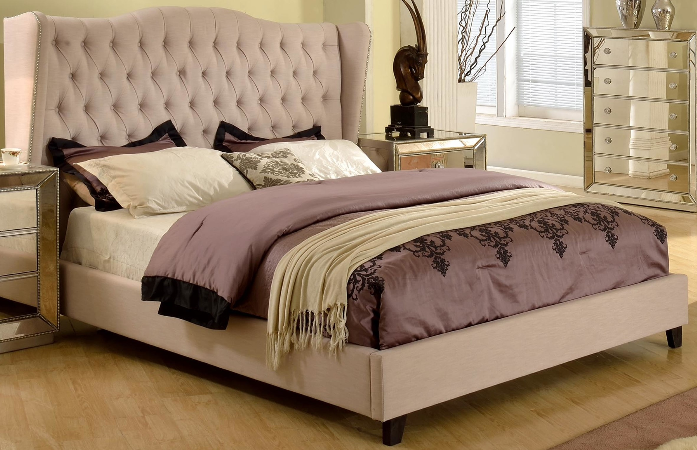 Contemporary taupe est king size bedroom bed hot sectionals for Bedroom benches king size bed
