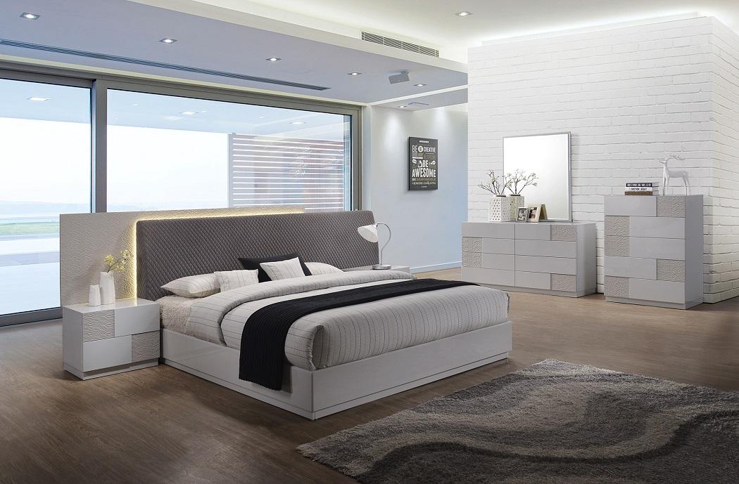 4PC Modern Platform Bedroom Furniture Set California King Size Grey Fabric  Bed