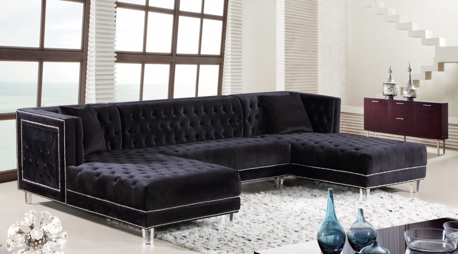 Black 3pc Sectional Sofa Set Contemporary Hot Sectionals