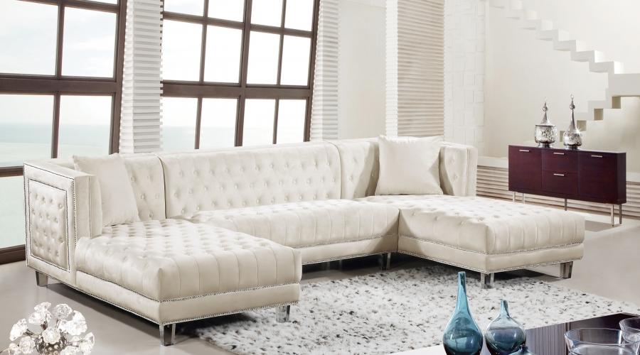 Luxurious Design Acrylic Legs Living Room Furniture Tufted Sectional Sofa Cream