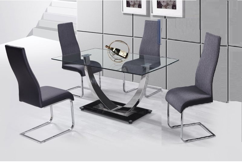 Sensational Contemporary Furniture Chrome Legs Dark Grey 4Pc Set Dining Side Chairs Faux Leather Camellatalisay Diy Chair Ideas Camellatalisaycom