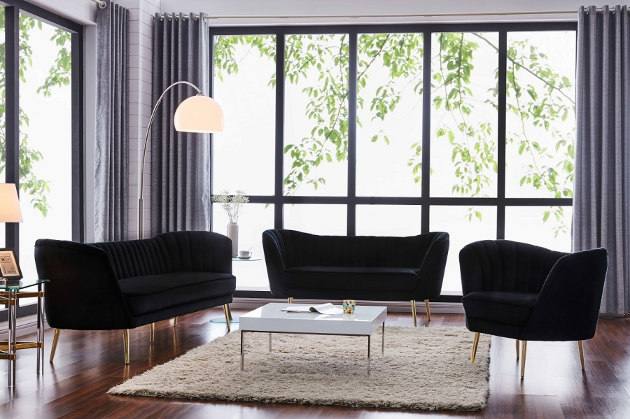 Sensational 3Pc Living Room Furniture Set Black Velvet Sofa Loveseat Chair Round Back Arms Gmtry Best Dining Table And Chair Ideas Images Gmtryco