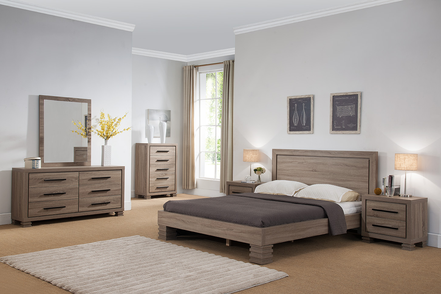 Modern Design 4pc Set Queen Size Platform Bed Dresser, Mirror & Nightstand  Dark Taupe Finish Bedroom Furniture