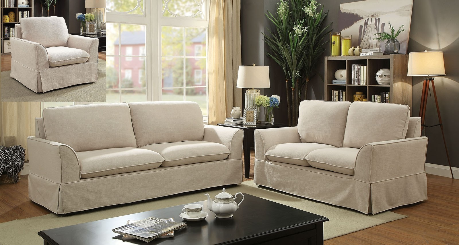 Transitional Beige Linen Like Fabric 2pc Sofa Hot Sectionals