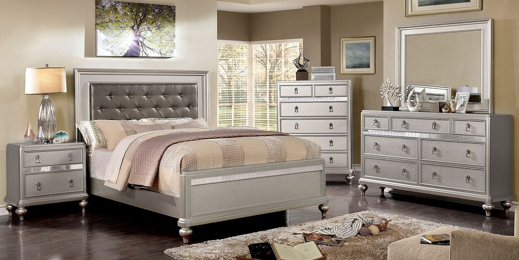 Queen Size Bedroom 1pc Bed Silver