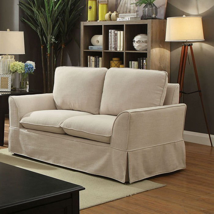 Transitional Style Living Room Furniture: Transitional Beige Linen Like Fabric 2pc Sofa