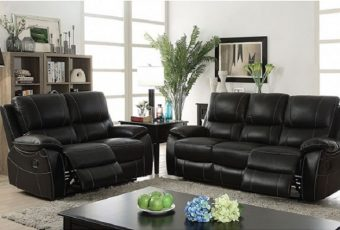 2pc Living Room Furniture Set Black Top Grain Leather Match Sofa Love Seat