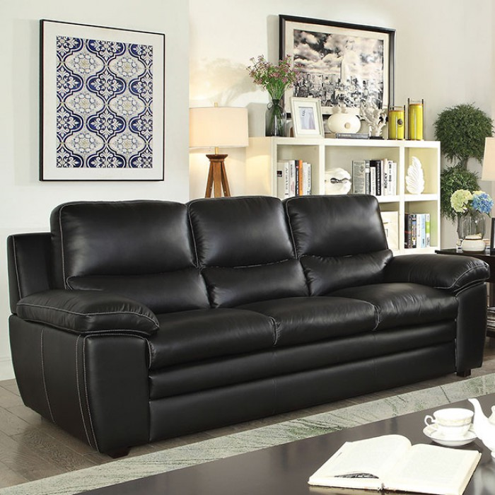 Contemporary Living Room Set In Black Red Or Cappuccino: Contemporary Black Top Grain Leather 2pc Sofa