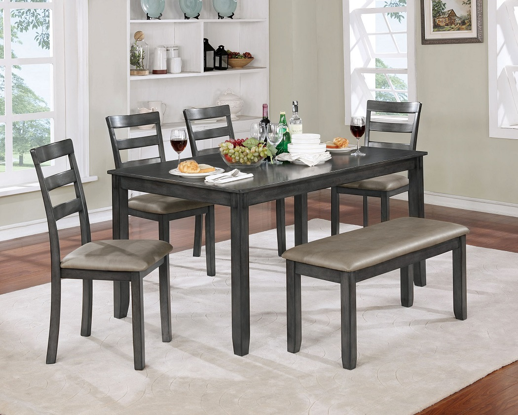Picture of: Dining Room Gray Table Bench Chair 6pc Set Hot Sectionals