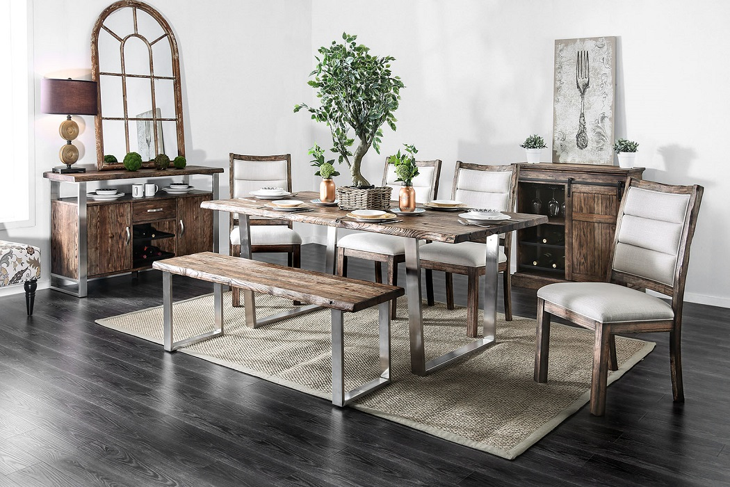 Groovy 6Pc Dining Room Furniture Set Transitional Style Stainless Steel Oak Table Bench Chairs Ocoug Best Dining Table And Chair Ideas Images Ocougorg