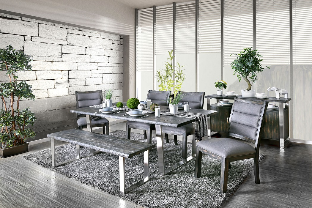 Enjoyable 6Pc Dining Room Furniture Set Transitional Style Stainless Steel Gray Finish Table Bench Chairs Ocoug Best Dining Table And Chair Ideas Images Ocougorg