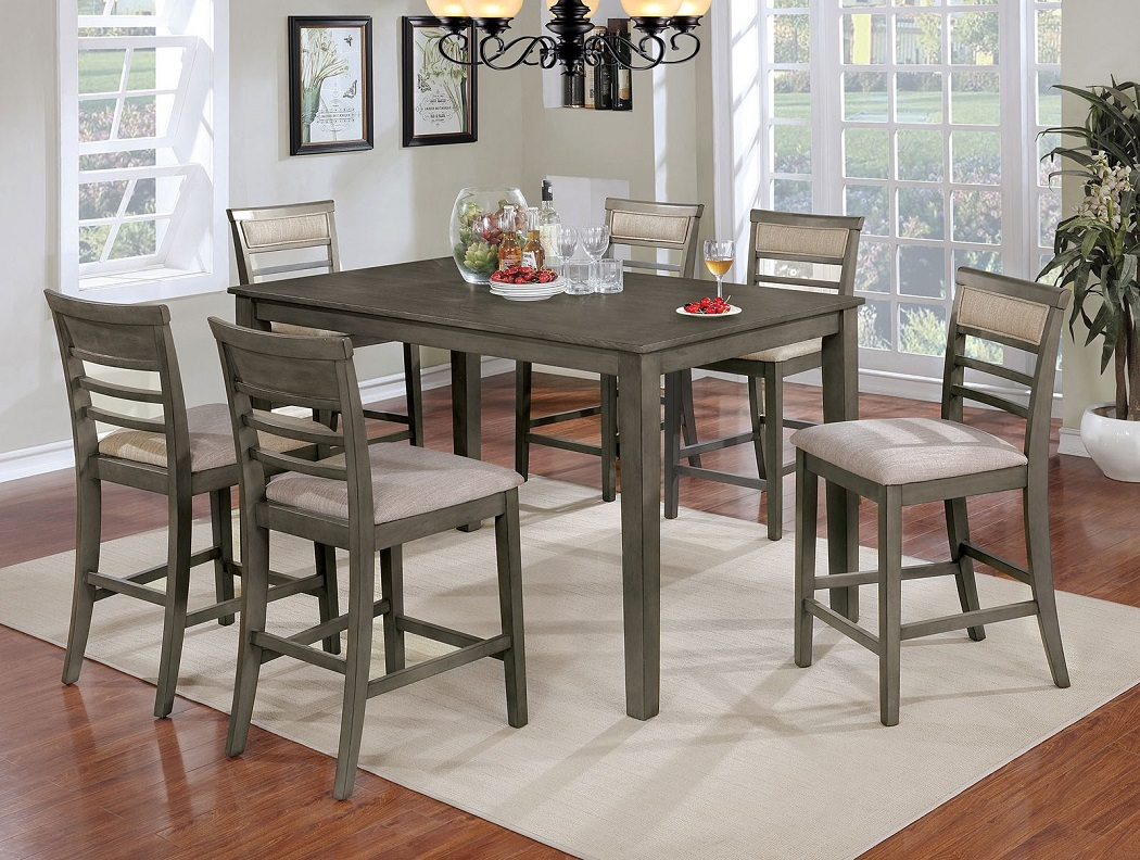 Gray Finish Fabric Dining Room Furniture 7pc Hot Sectionals