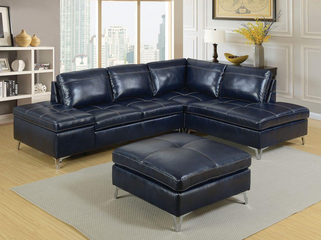 Astounding 4Pc Dark Blue Sectional Sofa Corner Loveseat W Storage Ottoman Living Room Set Onthecornerstone Fun Painted Chair Ideas Images Onthecornerstoneorg