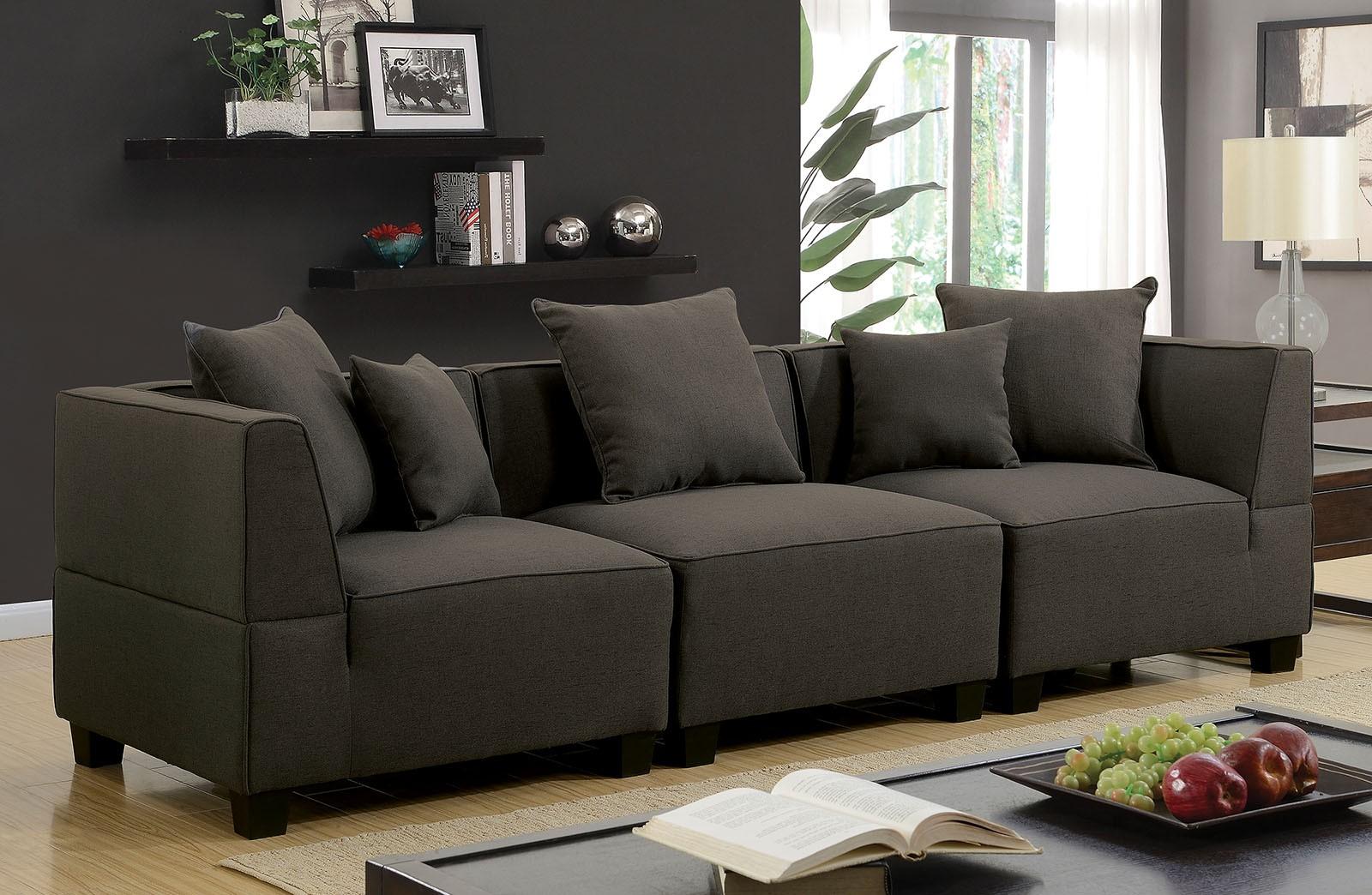 Fine Gray Soft Linen Like Fabric 3Pc Sectional Sofa Set Modular Design Living Room Pabps2019 Chair Design Images Pabps2019Com