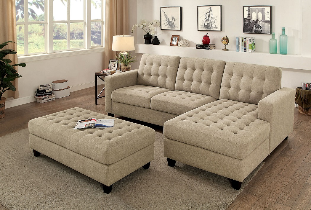 4pc Beige Sectional Sofa Chaise Loveseat Left & Right Arms w/Ottoman Living  Room