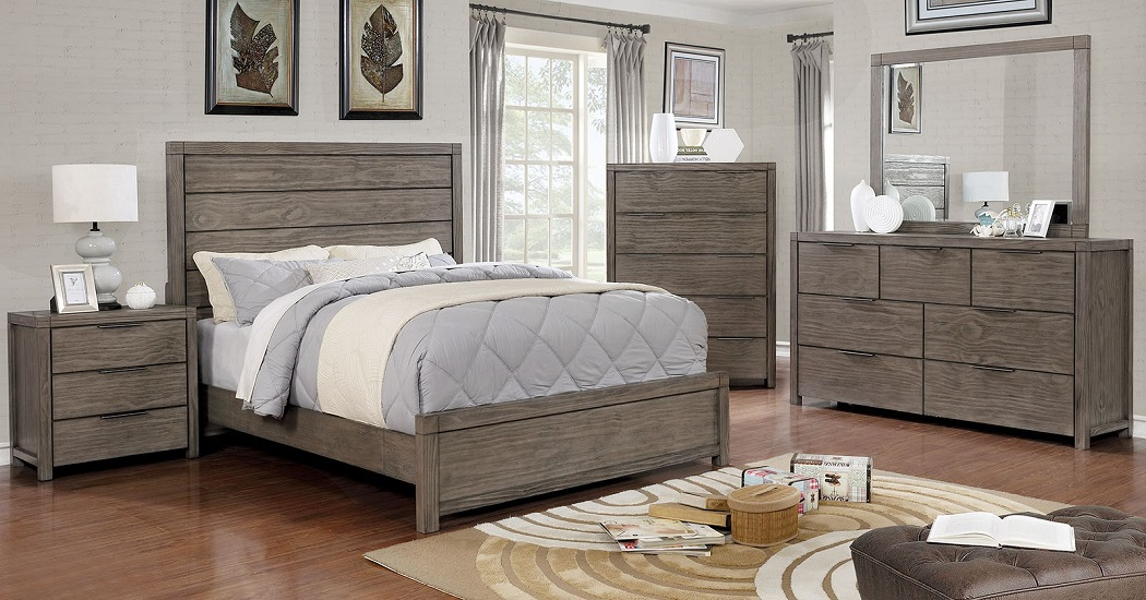 Surprising 4Pc California King Size Set Bedroom Furniture Plank Style Headboard Gray Finish Color Home Interior And Landscaping Ponolsignezvosmurscom