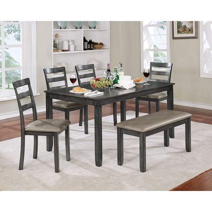 Dining Room Gray Table Bench & Chair 6pc Set