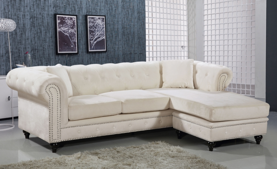 Cream 2pc Sectional Sofa Set Contemporary Hot Sectionals