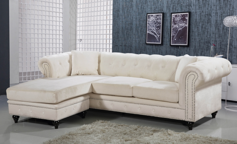 Superb Reversible Chaise Wooden Leg Living Room Furniture Cream Velvet Sectional Sofa 2Pc Caraccident5 Cool Chair Designs And Ideas Caraccident5Info