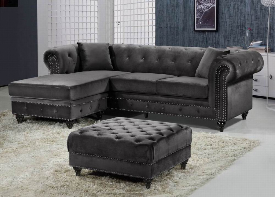 Outstanding Reversible Chaise Wooden Leg Living Room Furniture Grey Velvet Sectional Sofa 3Pc Caraccident5 Cool Chair Designs And Ideas Caraccident5Info