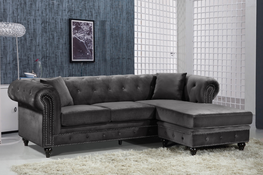 Grey 2pc Sectional Sofa Set Contemporary Hot Sectionals