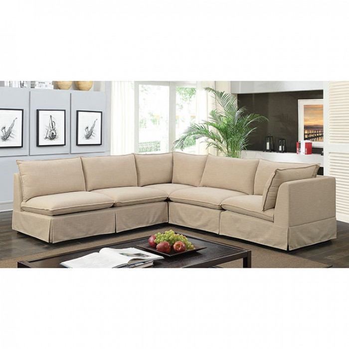 5pc sectional sofa beige fabric living room hot sectionals. Black Bedroom Furniture Sets. Home Design Ideas