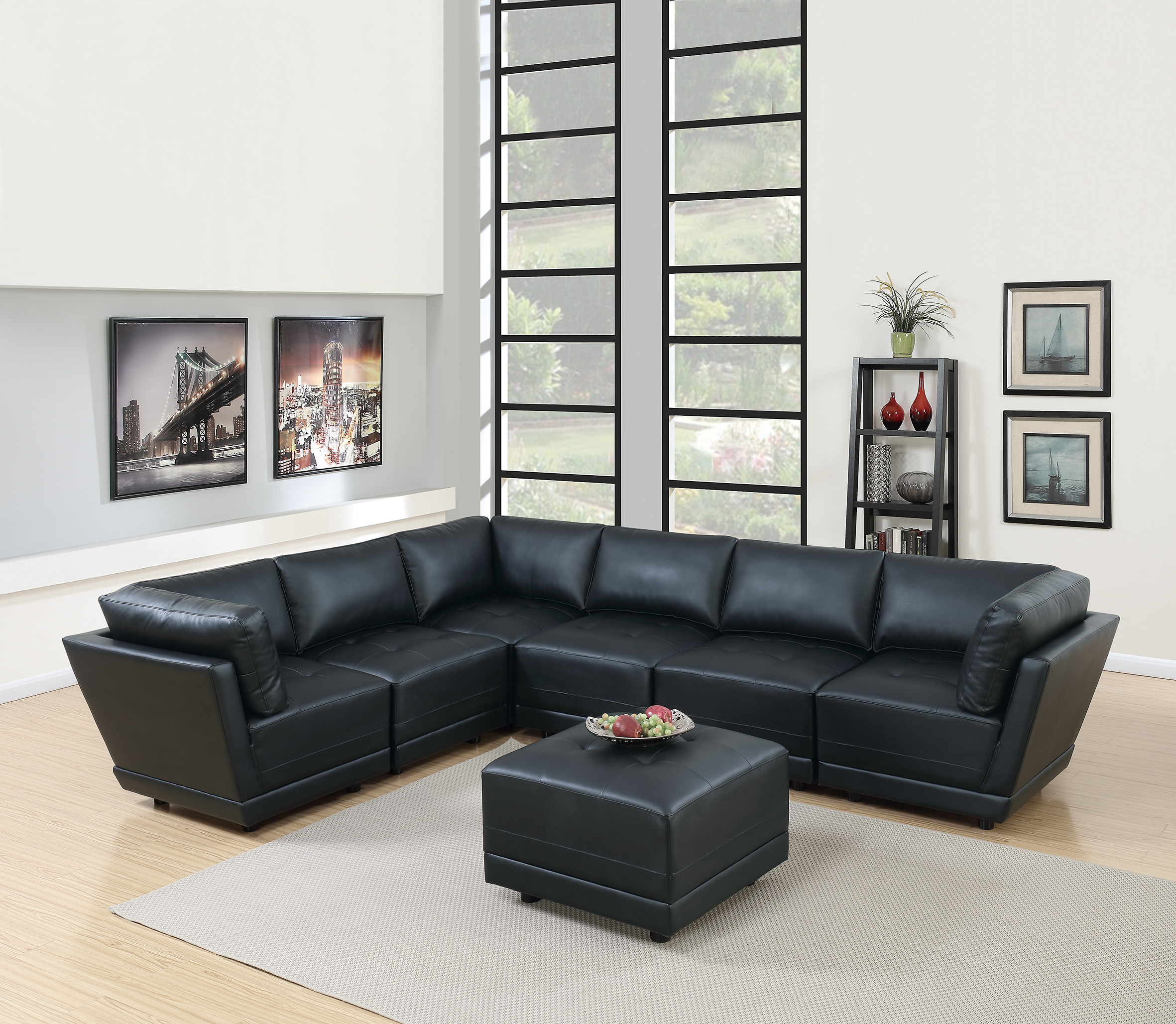 Modern Modular Sectional Sofa 7pc Set Black Bonded Leather 3 Corner Sofa 3  Armless Chairs and Ottoman Living Room