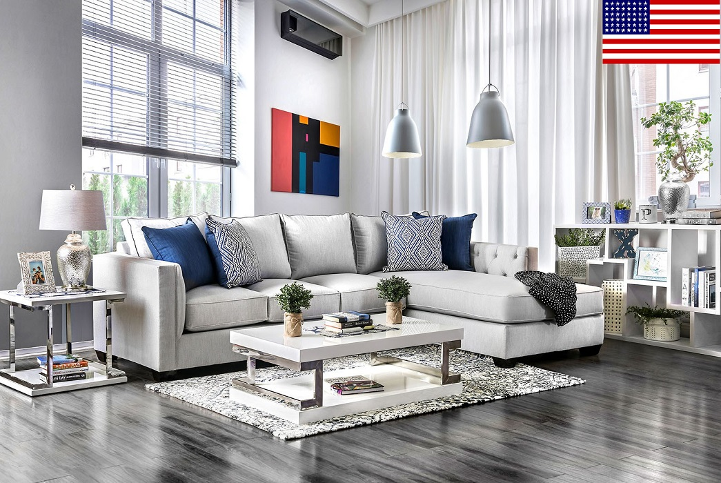 Sectional Sofa Light Gray Living Room Hot Sectionals