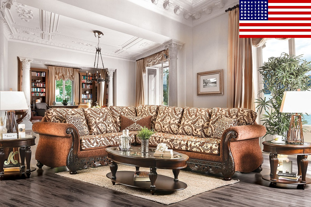 Sectional Sofa Brown Chenille Living Room Hot Sectionals