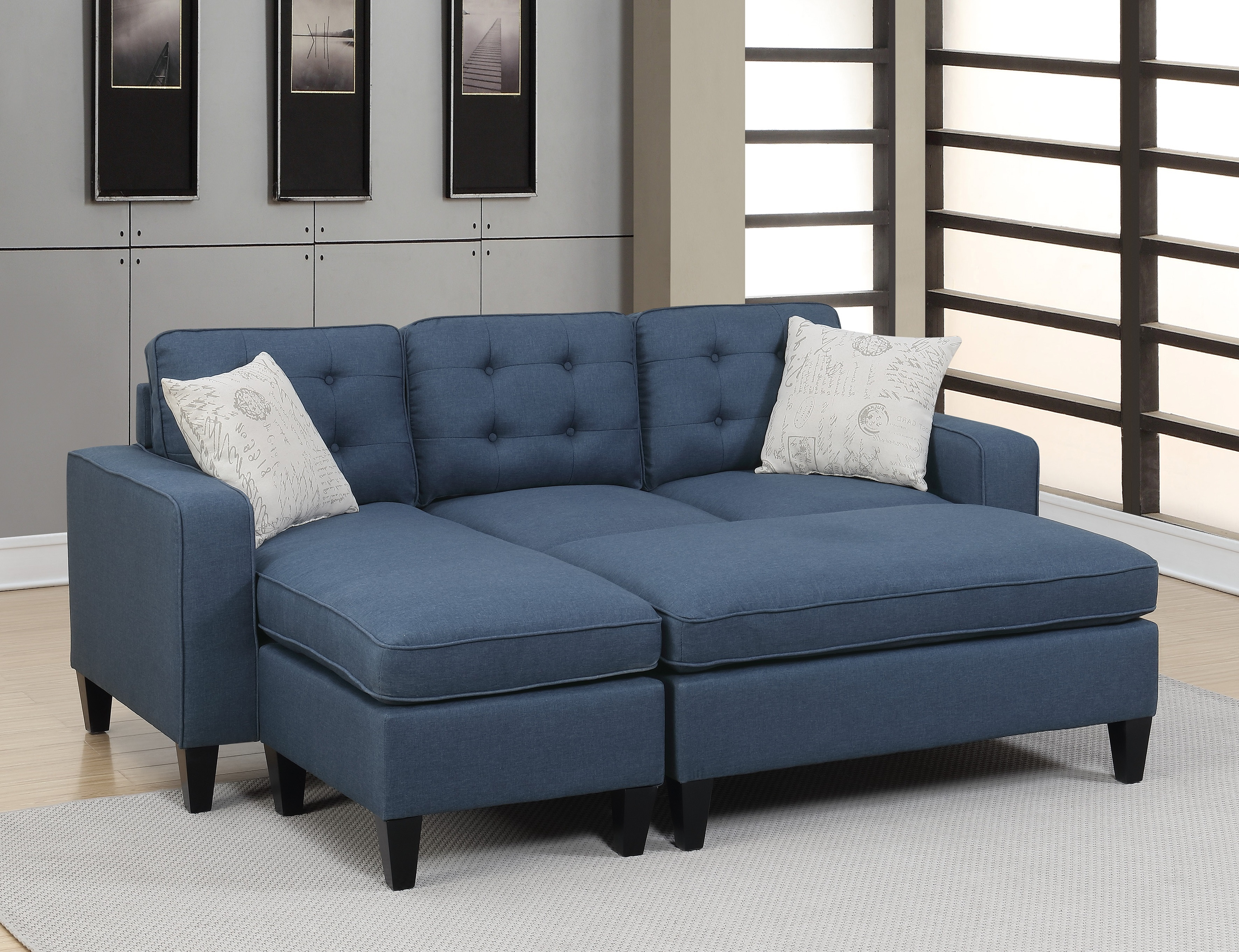 Sectionals Reversible Sectional Sofa w XL-Ottoman Modern Navy Polyfiber  Living Room Tufted Couch