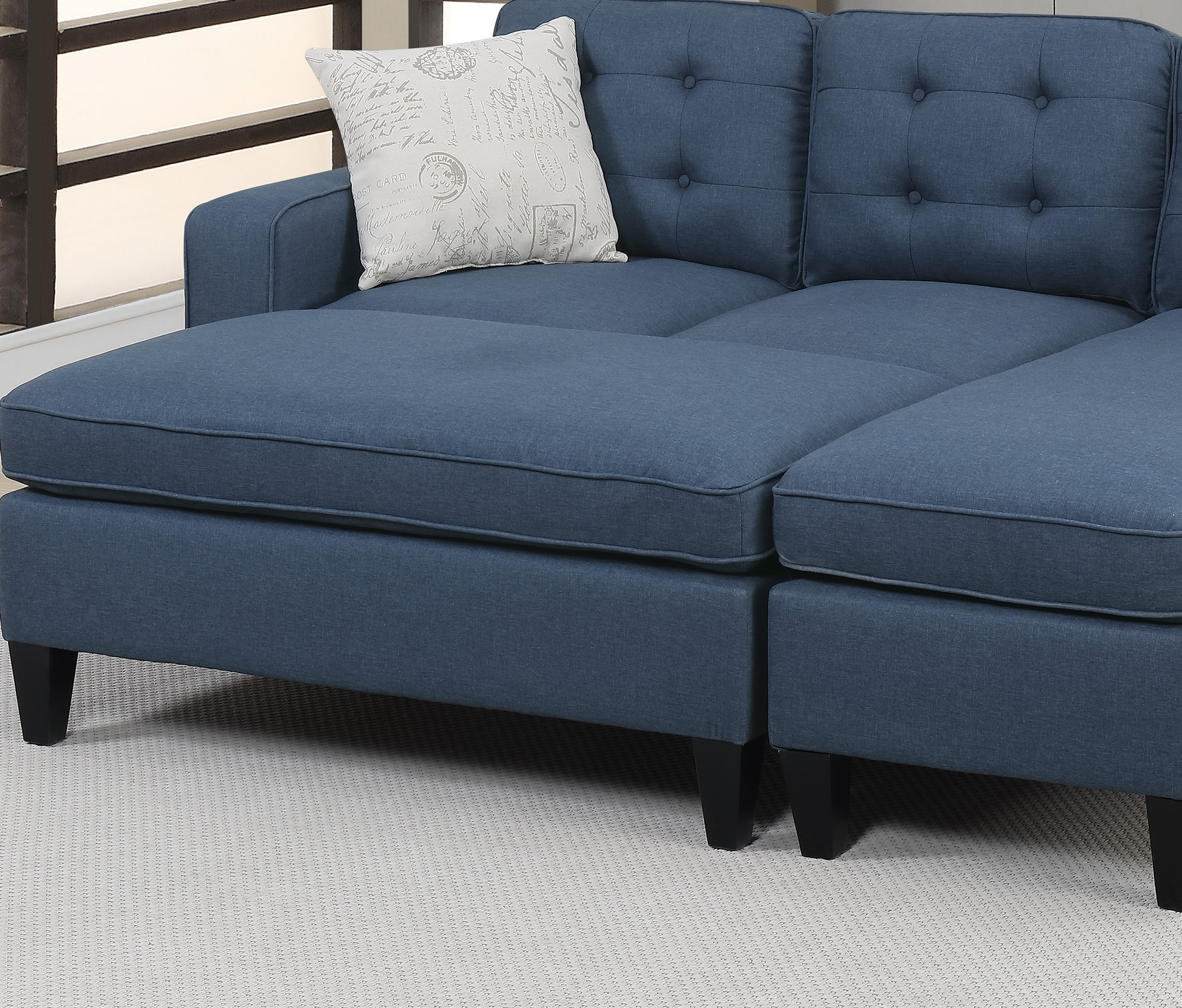 Navy Polyfiber Sectional Sofa Chaise Ottoman Hot Sectionals