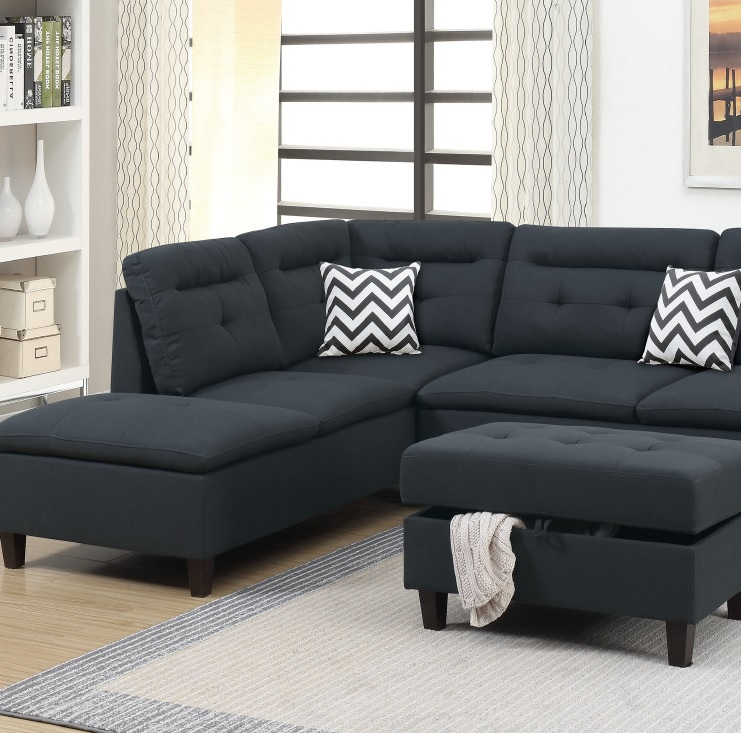 Stupendous Black 3 Pcs Sectional Set Sofa Couch Living Room Furniture F6588 Onthecornerstone Fun Painted Chair Ideas Images Onthecornerstoneorg