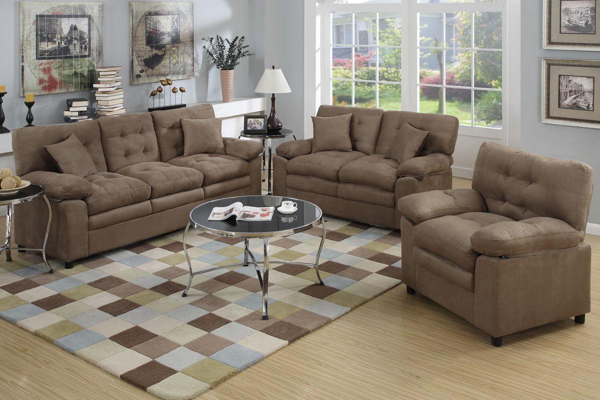 Dark Brown 3pc Microfiber Sofa Set